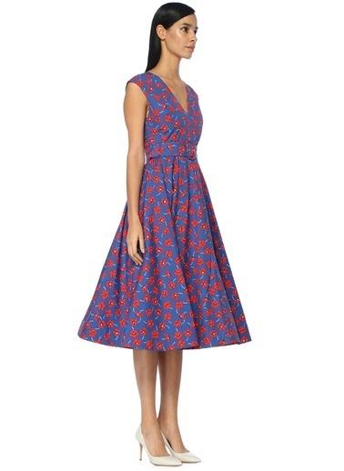 Alice+Olivia V Yaka Çiçekli Kloş Elbise Renkli
